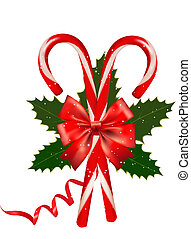 Shiny red Christmas candy cane with bow. Vector illustration...