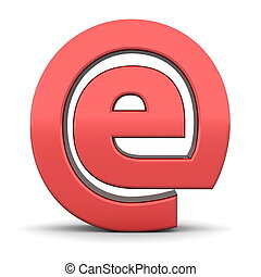 shiny red e sign in an AT symbol look - frontal view