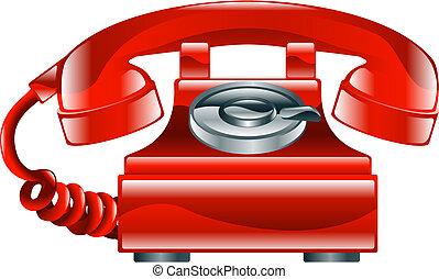 Illustration of shiny red old fashioned landline phone icon.