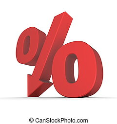 Shiny Red Percentage Down - shiny red percentage symbol with...