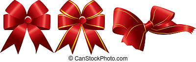 Shiny red ribbon on white backgroun