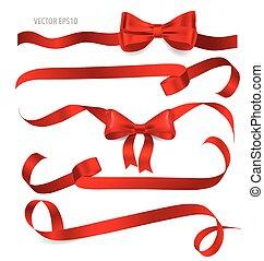 Shiny red ribbon on white background.