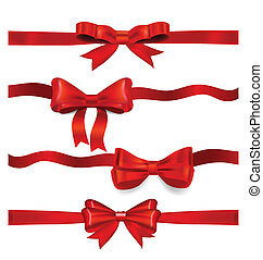 Shiny red ribbon on white background.