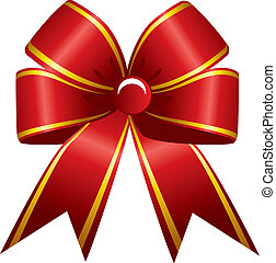 Shiny red ribbon on white backgroun