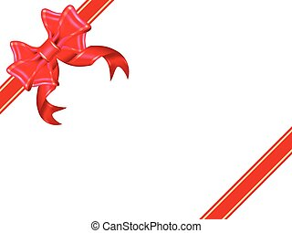 Shiny red ribbon on white background