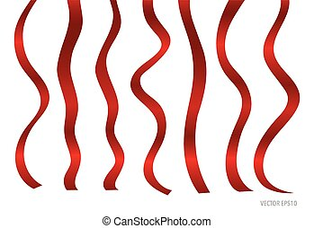 Shiny red ribbon on white background with copy space. Vector...