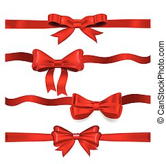 Shiny red ribbon - Shiny red ribbon on white background with...