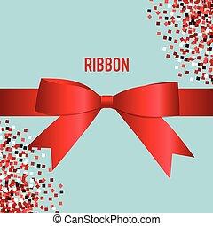 Shiny red ribbon. Vector illustration