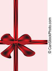 Shiny red satin ribbon on light pink background