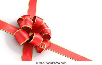 Shiny red satin ribbon on white background. 3d illustration