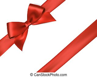 Shiny red satin ribbon on white background. Vector red bow....