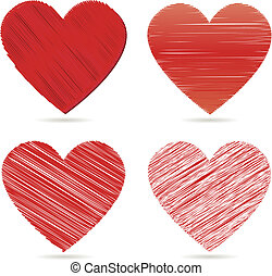 shiny red vector hearts for valentines day
