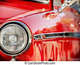 Shiny red vintage car