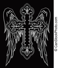 shiny religious cross with wing illustration