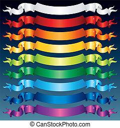Shiny Ribbon Banners. Multicolored Vector Set