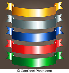 Shiny ribbon banners - Option of colorful shiny metallic...