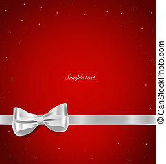 Shiny ribbon on red background with copy space. Vector...