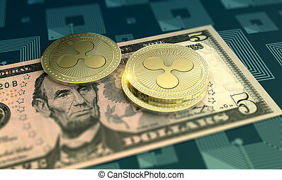 Shiny Ripple crypto-currency background - Cryptocurrency...