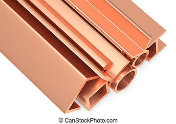 Shiny rolled copper metal products on white closeup
