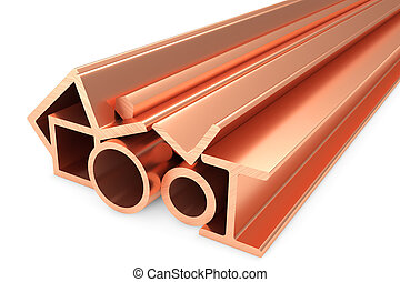 Shiny rolled copper metal products on white - Metallurgical...