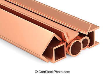 Shiny rolled copper metal products on white. - Metallurgical...