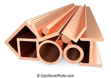 Shiny rolled copper metal products on white.
