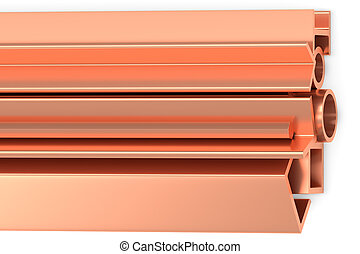 Shiny rolled copper products on white