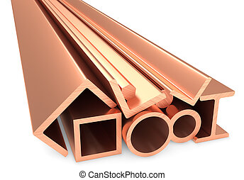 Shiny rolled metal copper products on white
