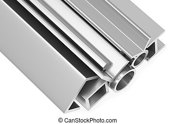 Shiny rolled steel metal products on white closeup