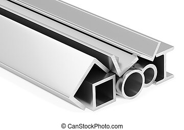 Shiny rolled steel metal products on white.
