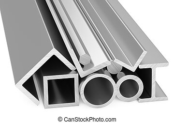 Shiny rolled steel metal products on white