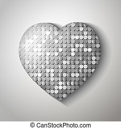 Shiny sequins heart. Eps 10 vector illustration