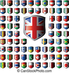 Shiny shield flags with metal frame collection - vector...