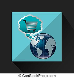 shiny shopping cart globe online commerce