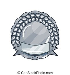 Shiny silver blank military award medal or badge with laurel wreath and ribbon in circle shape