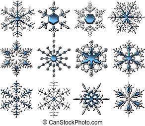 Silver-Blue Snowflakes - Shiny Silver-Blue Snowflakes