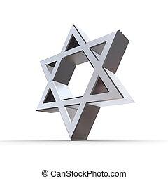 Shiny Silver Chrome Star of David