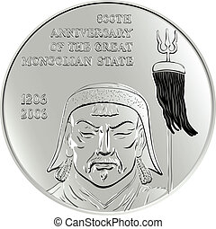 shiny silver commemorative coin depicting the Mongol Genghis Khan, isolated on white background