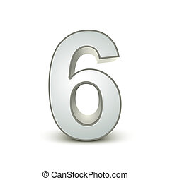 Number 6 on white background from colorful graphic letter