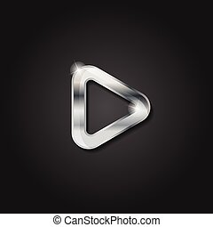 Shiny silver play icon metallic symbol