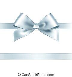 Shiny silver satin ribbon on white background. Vector