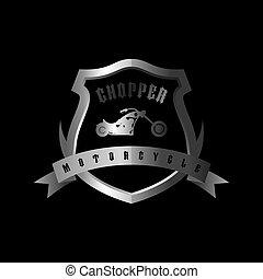 shiny silver shield chopper motorcycle vector art ...