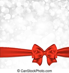 Shiny silver starry christmas background with red bow