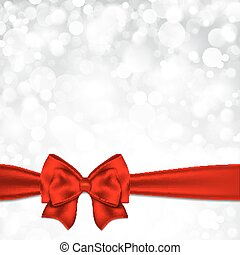 Shiny silver starry christmas background with red bow.