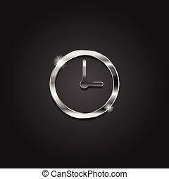 Shiny silver time clock icon metallic symbol