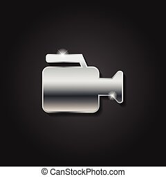 Shiny silver video camera icon metallic symbol