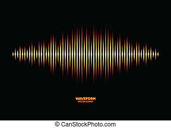 Shiny sound waveform - Shiny sharp yellow fire styled sound...