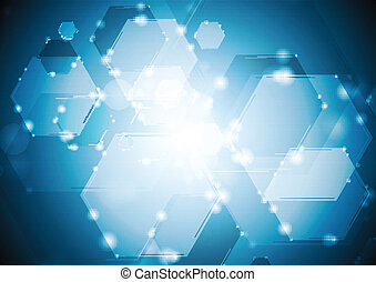 Shiny sparkling tech hexagons background. Vector background