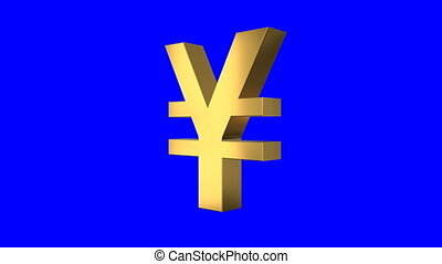 Shiny Spinning Yen Sign Screen