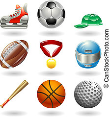 Series set of shiny colour icons or design elements related to sports